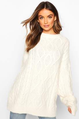 boohoo Oversized Cable Fluffy Knit Boyfriend Jumper