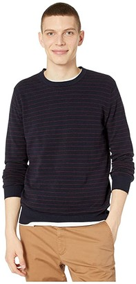 J.Crew Cotton-Cashmere Pique Line Stripe Crewneck Sweater (Stripe Navy) Men's Clothing