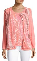 Berek Wavy Sequined-Front Cardigan, Coral, Plus Size