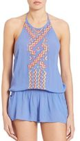 Shoshanna Geo Embroidered Halter Short Jumpsuit