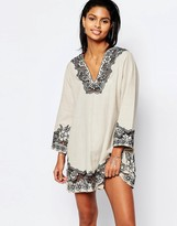 Tularosa Cosmos Embroidered Tunic Dress
