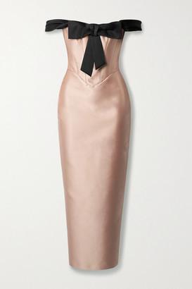 Rasario Off-the-shoulder Bow-embellished Duchesse-satin Dress - Blush