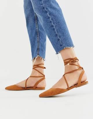 Asos Design DESIGN Lawful plaited tie leg pointed ballet flats in tan-Brown