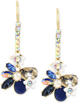 Betsey Johnson Gold-Tone Imitation Pearl and Blue Stone and Crystal Flower Drop Earrings
