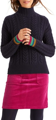 Boden Winifred Cable Stripe Sparkle Cuff Wool, Cotton & Alpaca Blend Sweater