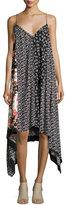 Rag & Bone Londar Floral-Print Sleeveless Handkerchief-Hem Dress, Black