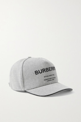 Burberry Leather-trimmed Appliqued Cotton-canvas Baseball Cap - Ivory
