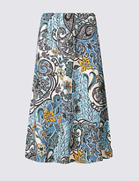 Classic Paisley Floral Print A-Line Midi Skirt
