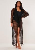 Missguided Plus Size Black Dobby Mesh Frill Maxi Kimono