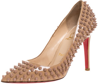 Christian Louboutin Beige Patent Leather Pigalle Spikes Pumps Size 36.5