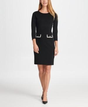 DKNY Elbow Sleeve Sheath with Pocket Detail Dress