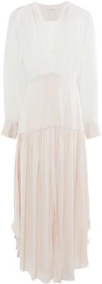 Sandro Live Asymmetric Chiffon-paneled Gathered Satin Maxi Dress