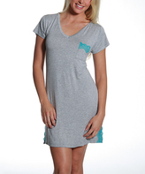Catherine Malandrino Light Heather & Teal Lace-Accent Pocket Nightgown