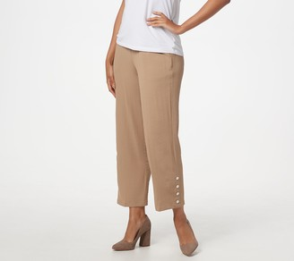 Linea by Louis Dell'Olio Pebble Crepe Pull-On Crop Pants w/ Studs