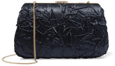 Nina Ricci Leather-trimmed crinkled satin-twill clutch