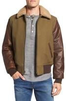 Schott NYC Men's Mixed Media B-15 Flight Jacket With Genuine Shearling Collar