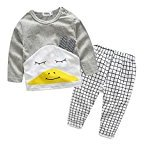 Newborn Infant Baby Girls Boys 2PCS Set ,Fheaven Cartoon Long Sleeve T-shirt+Plaid Pants Outfit Clothes (18M)