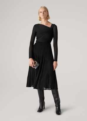St. John Micro-Ottoman Knit Pleated Drape Dress