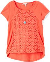 Speechless Orange Lace-Panel Cap-Sleeve Tee - Girls