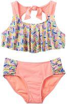 Girls 7-16 SO® Chevron Flounce Top 2-pc. Bikini Swimsuit Set