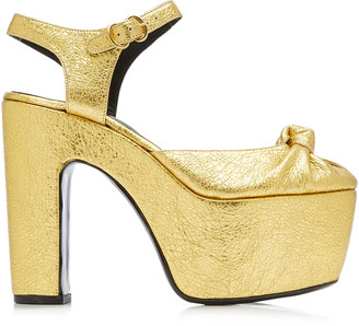 Simon Miller Rink Knotted Metallic Leather Platform Sandals