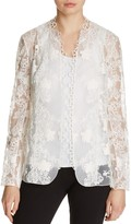 Elie Tahari Tori Embroidered Open Front Jacket
