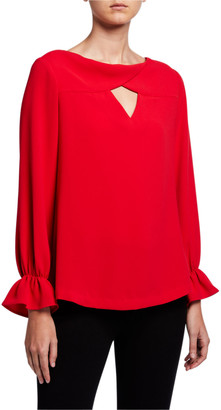 Trina Turk Ayako Bell-Sleeve Cutout Blouse