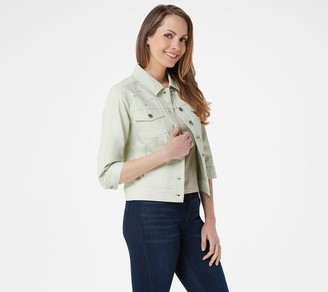 Denim & Co. Stretch Twill Denim Jacket w/ Embroidered Yoke