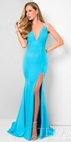 Terani Couture Plunging Spaghetti Halter Strap Slit Dress