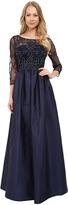 Adrianna Papell 3/4 Sleeve Bead Bodice Taffeta Gown