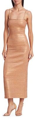 Herve Leger Embellished Metallic Midi Dress