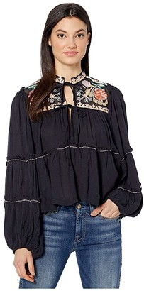 Free People In Vivid Color Top (Black) Women's Clothing