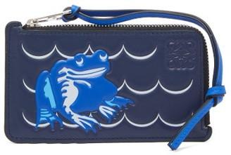 Loewe Frog-embossed Leather Wallet - Womens - Blue Multi