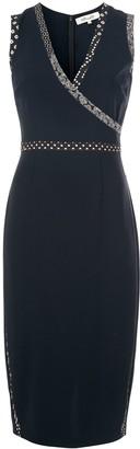 Dvf Diane Von Furstenberg pattern trim V-neck dress