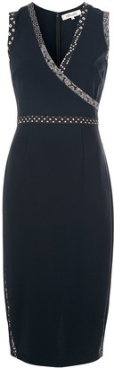 Diane von Furstenberg pattern trim V-neck dress