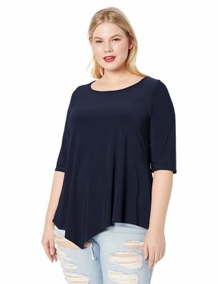 Star Vixen Women's Plus-Size 3/4 Sleeve Hanky Hem Stretch Tunic Top