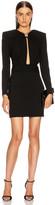 Saint Laurent Long Sleeve Keyhole Mini Dress in Black   FWRD