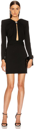 Saint Laurent Long Sleeve Keyhole Mini Dress in Black | FWRD