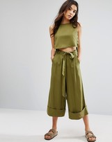 NATIVE YOUTH Awkward Length Wide Leg Pants With Tie Waist Co-Ord