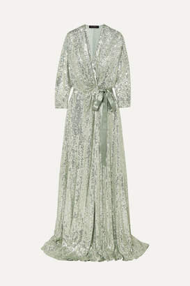 Jenny Packham Satin-trimmed Sequined Chiffon Wrap Gown - Mint