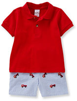 Starting Out 12-24 Months Firetruck Emroidered Polo Shirt & Striped Short Set