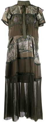 Sacai Sun Surf-print panelled dress