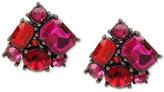 Betsey Johnson Betsey Johnston Hematite-Tone Pink Crystal Cluster Stud Earrings