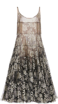 Paule Ka Lurex Floral Lace Flared Dress