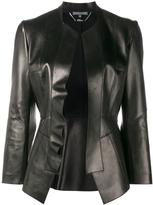 Alexander McQueen leather peplum jacket - women - Cotton/Lamb Skin - 40