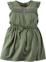 Carter's Flutter-Sleeve Olive Green Woven Dress - Girls 4-8