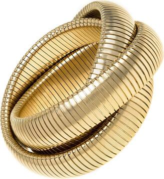 Janis Savitt High Polished Yellow Gold Plated Large Triple Cobra Bracelet