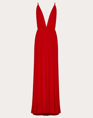 Valentino Pleated Georgette Evening Dress Women Red Silk 100% 36