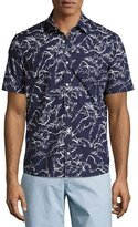 Michael Kors Palm Leaf Short-Sleeve Sport Shirt, Navy