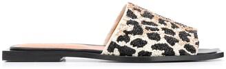 Ganni Leopard-Print Beaded Sandals